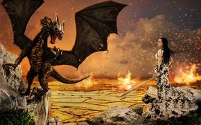 Фантастика: девушка, дракон, сюрреализм, фантасмагория, 3d, art