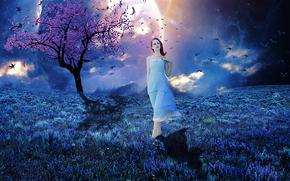 Рендеринг: закат, поле, девушка, дерево, планета, птицы, сюрреализм, фантасмагория, 3d, art