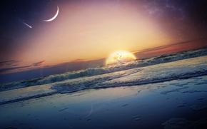 Рендеринг: закат, море, волны, планета, art