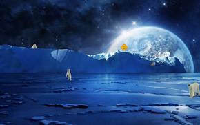 Рендеринг: северный полюс, белые медведи, планета, art