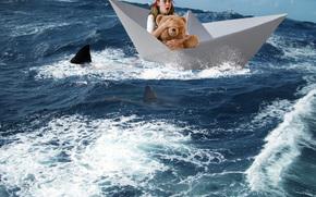 Ситуации: море, бумажный кораблик, девушка, акулы