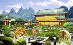 Рендеринг: тигры, азиатки, сюрреализм