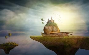 Рендеринг: улитка, замок, сюрреализм, фантасмагория, 3d, art