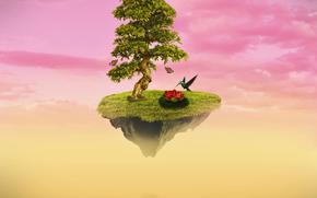 Рендеринг: дерево, птицы, остров, сюрреализм, фантасмагория, 3d, art