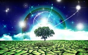 Рендеринг: дерево, планета, сюрреализм, фантасмагория, 3d, art