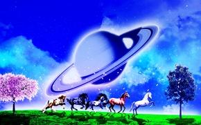 Рендеринг: поле, лошади, деревья, планета, сюрреализм, фантасмагория, 3d, art