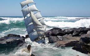 Обои Ситуации: море, шторм, корабль, скалы