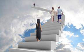 Рендеринг: лестница в небо, сюрреализм, фантасмагория, 3d, art
