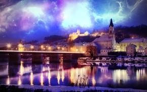 Рендеринг: город, ночь, сияние, река, мост