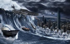 Рендеринг: шторм, буря, город, катастрофа, море, волна, затоп