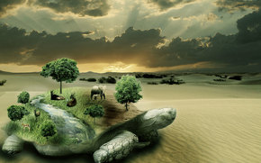 Рендеринг: сюрреализм, фантасмагория, 3d, art, черепаха