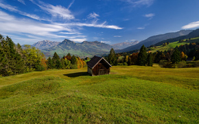 Пейзажи: Toggenburg, Switzerland, Alpstein, Alps, Тоггенбург, Швейцария, Альпштайн, Альпы, горы, долина, луг, хижина
