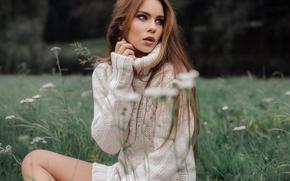 Настроения: Tiziana Di Garbo, модель, свитер, луг