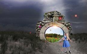 Рендеринг: ворота в рай, алиса в стране чудес, 3d, art
