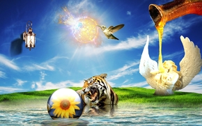 Рендеринг: тигр, птица, сюрреализм, фантасмагория, 3d, art