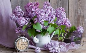 Цветы: сирень, букет, будильник, часы