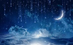 Пейзажи: небо, ночь, облака, звёзды, месяц, пейзаж