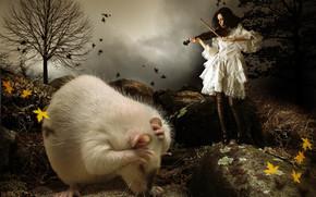 Рендеринг: девушка, скрипка, крыса