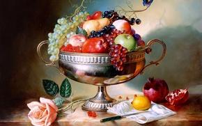 Обои Разное: ваза, фрукты, натюрморт