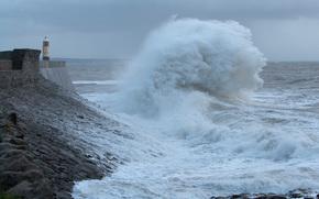 Пейзажи: море, маяк, волны, брызги, шторм