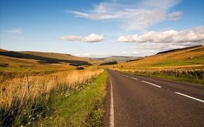 Пейзажи: дорога, холмы, поля, пейзаж