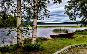 Пейзажи: река, берег, лодка, деревья, пейзаж