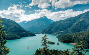 Пейзажи: Росс озеро, Национальная зона отдыха, Вашингтон, горы, деревья, пейзаж