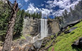 Пейзажи: Yosemite National Park, скалы, водопад, деревья, пейзаж