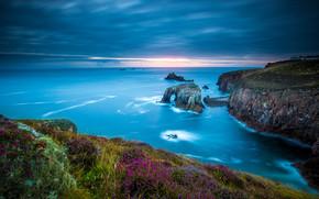 Пейзажи: Land's End, Cornwall, England, Celtic Sea, мыс Лендс-Энд, Корнуолл, Англия, Кельтское море, побережье, скалы, море
