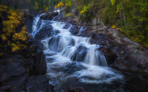 Пейзажи: водопад, каскад, река, скалы, осень