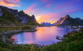 Пейзажи: Reine, Nordland, Lofoten archipelago, Gravdalsbukta, Norway, Рейне, Нурланн, Лофотенские острова, залив Гравдаль, Норвегия, деревня, бухта, залив, горы, закат