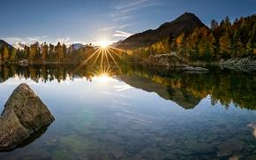 Пейзажи: Lago di Saoseo, Val di Campo, Poschiavo, Switzerland, Валь-ди-Кампо, Поскьяво, Шаейцария, озеро, закат, осень, горы, отражение, камни, дно