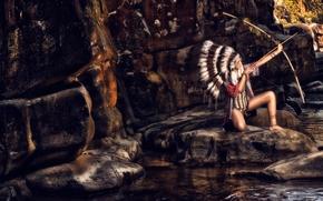 Стиль: индианка, скво, лук, роуч, перья, камни