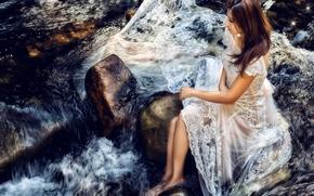 Настроения: азиатка, невеста, платье, настроение, река, камни