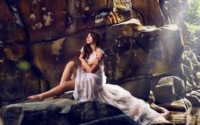 Настроения: азиатка, невеста, платье, настроение, камни