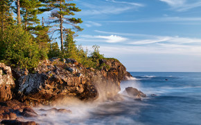 Lake Superior, Great Lakes, Algoma District, Ontario, Canada, озеро Верхнее, Великие озёра, Алгома, Онтарио, Канада, озеро, скалы, побережье, сосны обои, фото