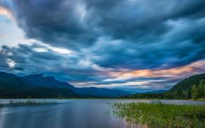 Пейзажи: Columbia River, Rocky Mountains, British Columbia, Canada, река Колумбия, Скалистые горы, Британская Колумбия, Канада, река, горы, небо, облака, панорама