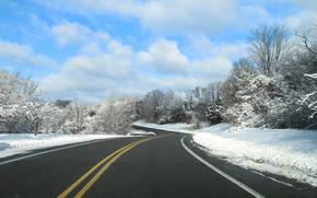 Обои Пейзажи: зима, дорога, деревья, пейзаж