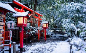 Пейзажи: Nonomiya Shrine, Torii gate, Kyoto, Japan, Храм Нономия, Тории, Киото, Япония, храм, врата, фонари, зима, снег