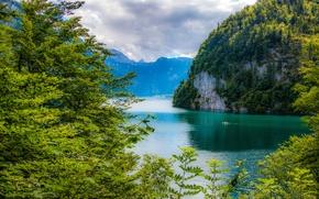 Пейзажи: K?nigssee lake, Bavarian Alps, Bavaria, Germany, озеро Кёнигсзе, Баварские Альпы, Бавария, Германия, озеро, горы, деревья
