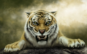 Рендеринг: art, тигр, оскал
