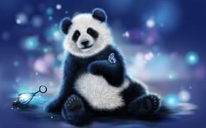 Рендеринг: панда, бабочка, art