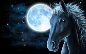 Рендеринг: art, лошадь, луна