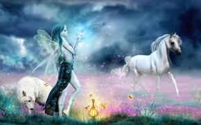 Фантастика: Магия жизни, поле, девушка, лошадь, волк, фантастика