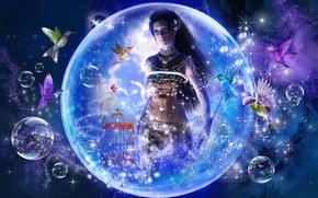 Фантастика: Путешествие в сказку, девушка, птицы, фантазия