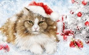 Праздники: новый год, ёлка, кошка