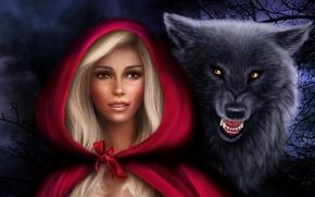 Фантастика: красная шапочка, серый волк, фантастика