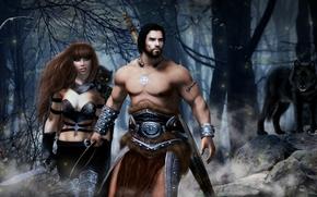 Фантастика: воин, девушка, волк, фантастика