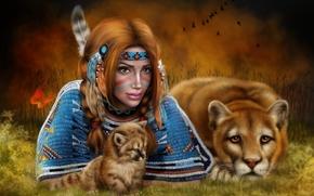 Фантастика: девушка, львица, art