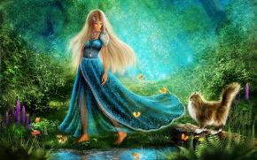 Рендеринг: Walk at the Forest of Wonders, босоногая, девушка, кот